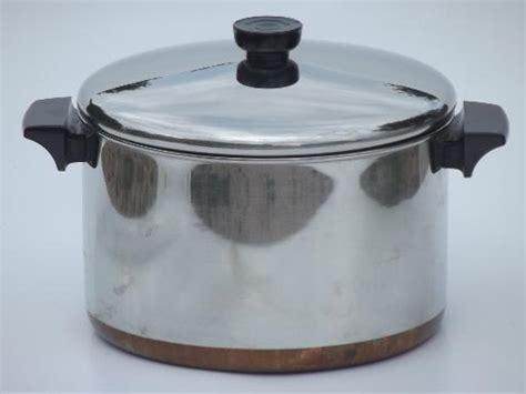 qt revere ware stockpot vintage copper bottom revereware pot  lid