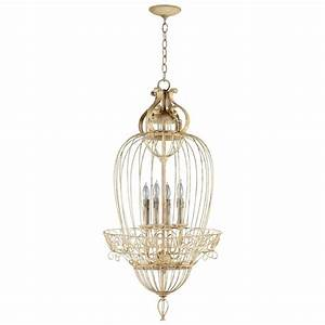 Vintage Foyer Antique White Bird Cage 4 Light Chandelier