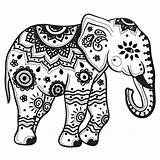 Coloring Elephant Mandala Pages Print sketch template