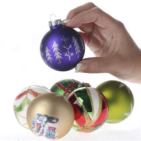 vintage hand decorated glass ball ornament set christmas