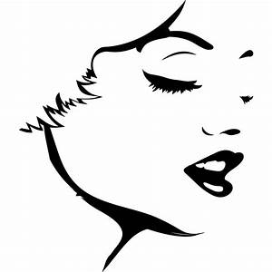 Womans Face Outline People Wall Art Stickers Wall Decal ...