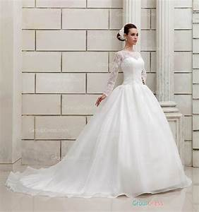 boat neck long sleeve wedding dress ball gown lace bridal With wedding dress ball gown with sleeves