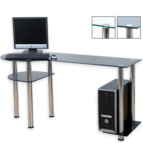 bureau ordinateur en verre bureau d 39 ordinateur en verre noir 145 x 60 x 72 cm