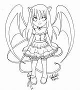 Chibi Cute Demon Lineart Demons Drawings Sketches Coloring Pages Devil Hentai Angel Creepy Sketch Vampires M3 Deviantart sketch template