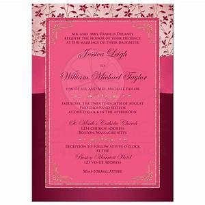 wedding invitation burgundy pink rose gold floral With wedding invitations with burgundy ribbon