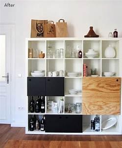 Expedit Mit Türen : before and after a genius bookshelf turned kitchen storage ikea hack t ren ikea m bel und ikea ~ Indierocktalk.com Haus und Dekorationen