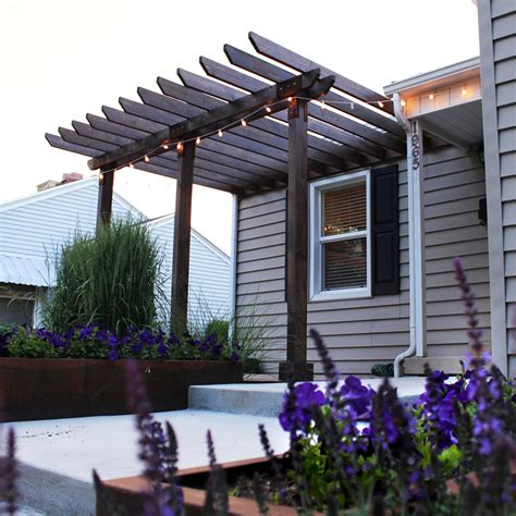 pergola attached to house Patio Modern with BBQ brick
