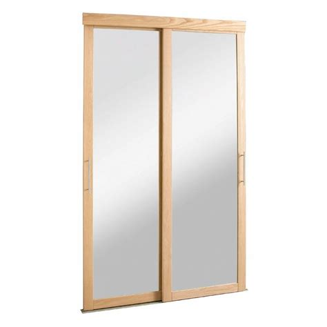 pinecroft 72 in x 80 in mirror zen oak frame for sliding