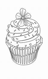Coloring Cupcake Pages Flower Cupcakes Cute Adult Topping Drawing Hard Food Print Drawings Colouring Cake Printable Adults Sheets Birthday Books sketch template