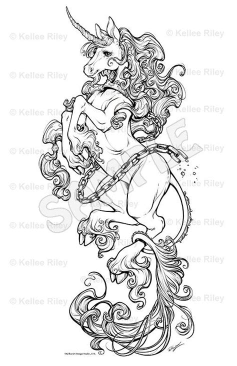 Unicorn Adult Coloring Pages by KelleeArt on Etsy | Color