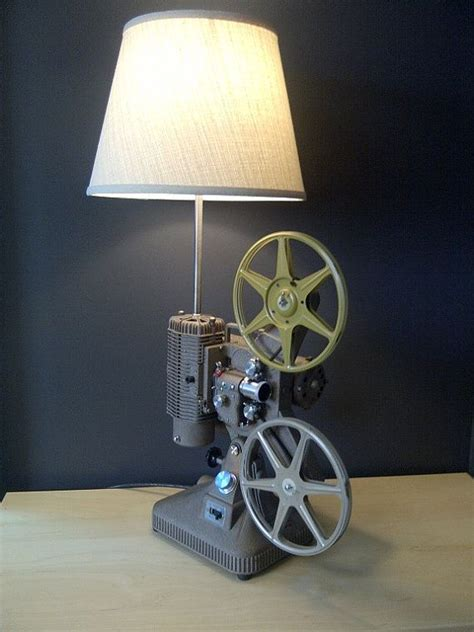 Home Theater Decor Movie Projector Table Lamp Upcycled Home Theater Decor Movie Projector