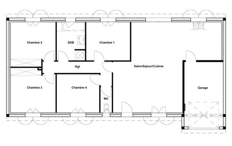 plan maison plain pied 4 chambres garage plan de maison 2 chambres 60 m plan de maison plan