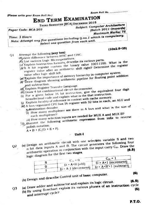 BCA 3rd Semester: Computer Architecture - Question Paper