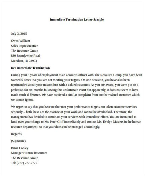 sales rep termination letter termination letter format