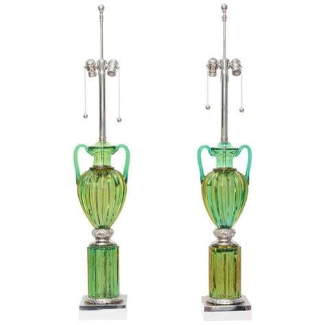 vintage green glass l pair of vintage murano emerald green glass ls by marbro