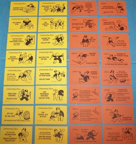 chance and community chest cards template monopoly chance and community chest cards 32pcs