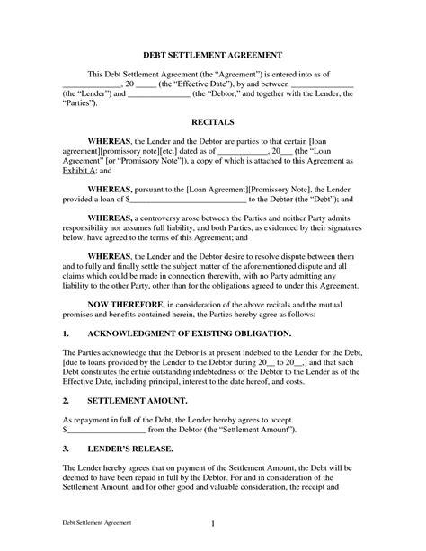 settlement agreement template agreement debt settlement agreement form