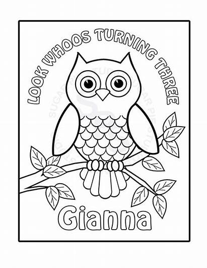 Owl Coloring Printable Birthday Personalized Childrens Pdf