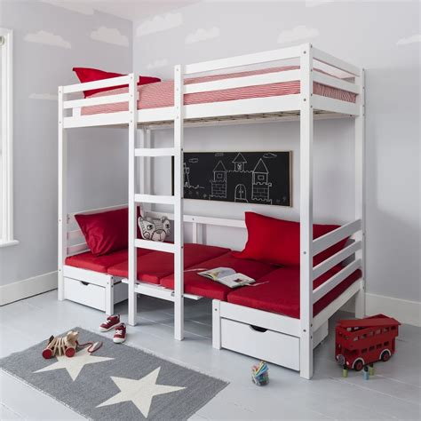max bunk bed  table  sleep centre  red cushions