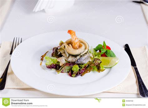 Tasty Main Dish Of Meat And Veggies Combination Stock