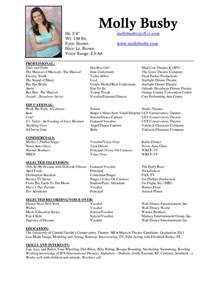 Musical Theatre Resume by Musician Resume Sle Sle Resumes