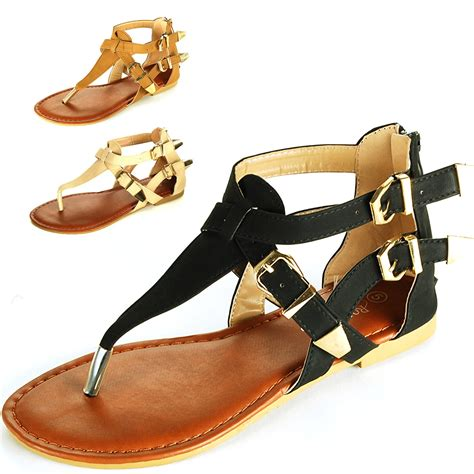 womens gladiator sandals  strap thongs roman flats