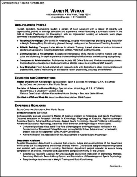 resume template  graduate school  samples