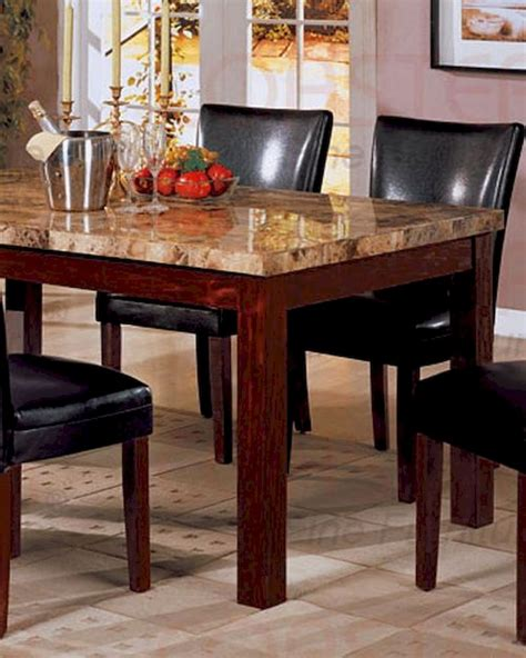 marble top dining table  rich cherry