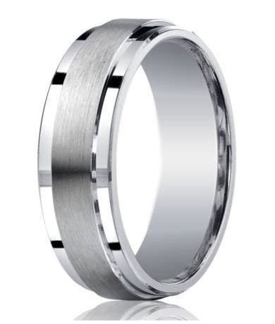 7mm designer argentium silver satin band wedding ring with polished step down edges