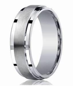 Mens Designer Silver Satin Wedding Ring Polished Step