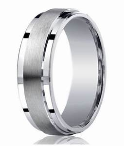 Mens designer silver satin wedding ring polished step for Mens wedding rings silver