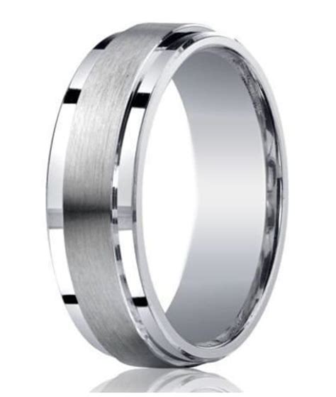 mens silver wedding rings mens designer silver satin wedding ring polished step edges