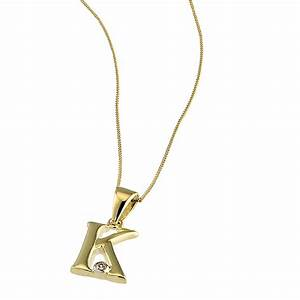 9ct gold cubic zirconia set letter k pendant with 16 With gold chain with letter k