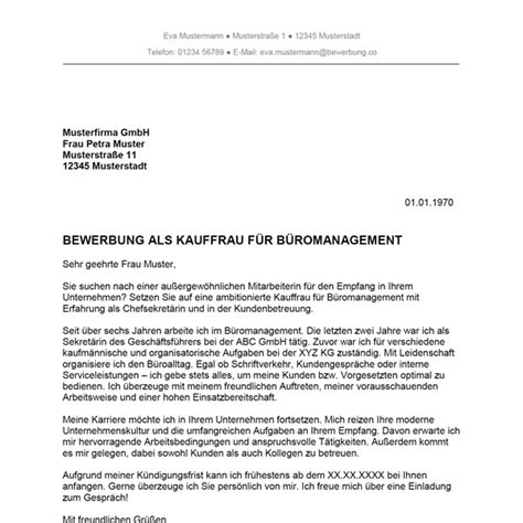 bewerbung als kauffrau fuer bueromanagement kaufmann fuer