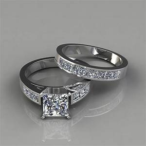 Princess cut engagement ring and wedding band bridal set for Wedding ring engagement ring set