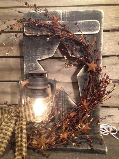 Country Primitive Metal Lantern Decoration Berry