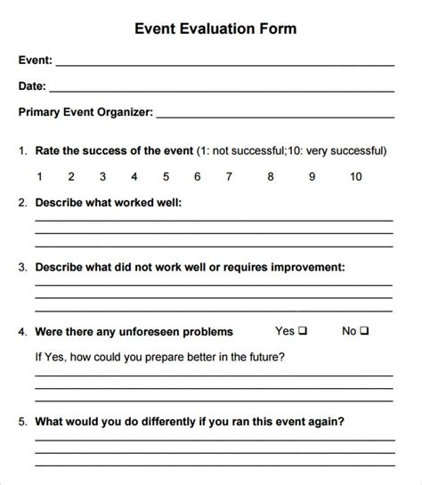event evaluation form     word