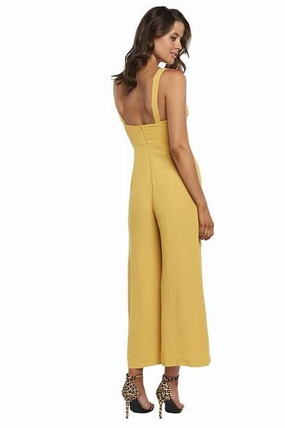 Jumpsuit Lara Leg Wide Bardot Jumpsuits Yellow