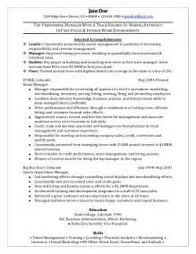 retail sales manager resume exles retail manager sle resume