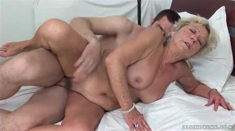 Hairy Granny Pussy Rides A Young Cock