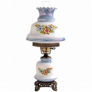 blue tint floral night light hurricane table lamp f7957 With lamp light florist