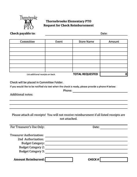 pto forms thornebrooke elementary pto