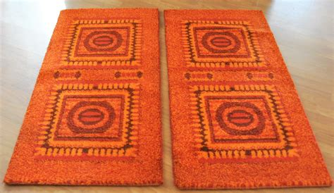 Bedside Rugs Sale by Orange Mosaic Bedside Rugs 1970s Set Of 2 For Sale At Pamono