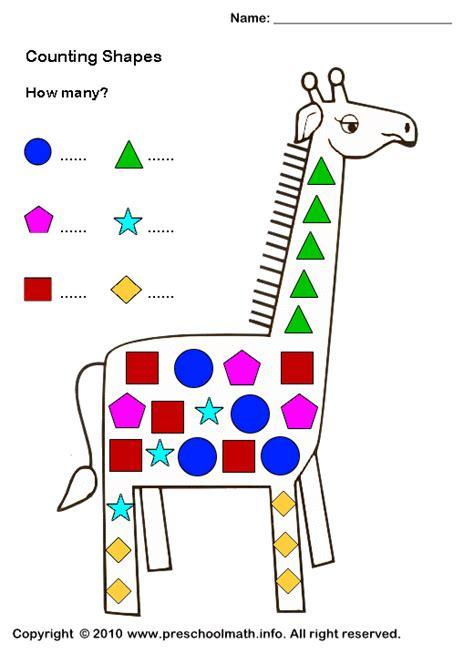 printable shape worksheets  preschool