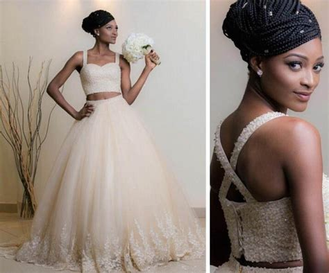Discount 2016 Two Pieces African American Wedding Dress