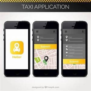 Taxi Application Template For Mobile Vector