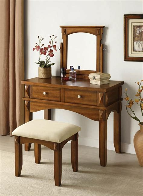 Bedroom Vanity by Aldora Rustic Oak Makeup Vanity Table Set Home Ideas In