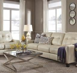 tufted top grain faux leather loveseat and sofa in beige