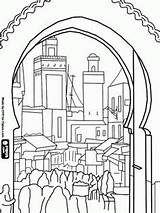 Coloring Morocco Pages Medina Buildings Houses Bali Colouring Cityscapes Fes Printable Adult Bustle Landscapes Colour El Drawing Sheets Walled Oldest sketch template