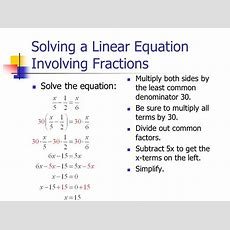 11 Linear Equations A Linear Equation In One Variable Is Equivalent To An Equation Of The Form